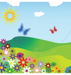 flowers and field vector image