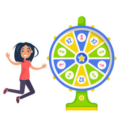 Fortune wheel and lucky girl gambling and casino vector