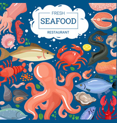 Fresh seafood restaurant background vector