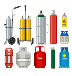 gas cylinders butane helium acetylene propane vector image