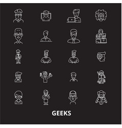 Geeks editable line icons set on black vector