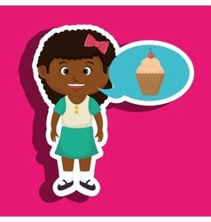 Girl cartoon cup cake vector