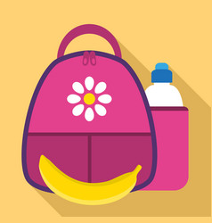 girl lunch backpack icon flat style vector image