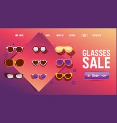 Glasses online shop sale icons for website vector