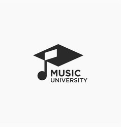 graduation hat musical note logo icon template vector image