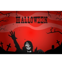 Halloween zombies on a red background vector