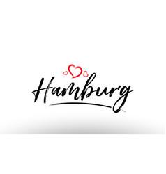 Hamburg europe european city name love heart vector