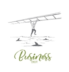 Hand drawn businessman crossing sea with sharks vector image