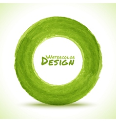 Hand drawn watercolor green circle design element vector