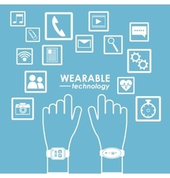 hands wearable technology modern app vector image