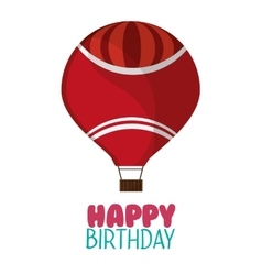 Happy birthday red airballoon white background vector