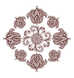 Henna tattoo mehndi flower template vector