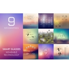 High-tech glasses infographic with unfocused vector