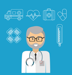 Hospital doctor with his tools icon vector