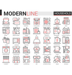 Household tools complex thin red black line icons vector