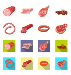 Isolated object of meat and ham logo set of meat vector