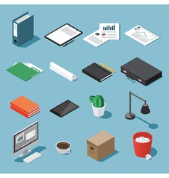 Isometric desk equipment set vector image