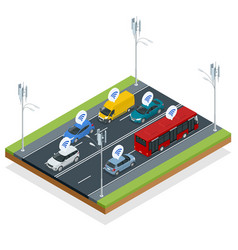 isometric smart city transport and wifi technology vector image