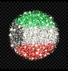 kuwait flag sparkling badge vector image