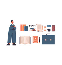 law and justice set male lawyer and icons vector image