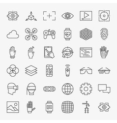 Line Virtual Reality Design Icons Big Set vector