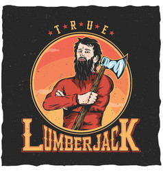 lumberjack woodworks label design poster vector image