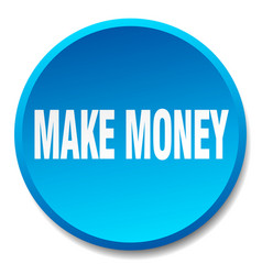 Make money blue round flat isolated push button vector