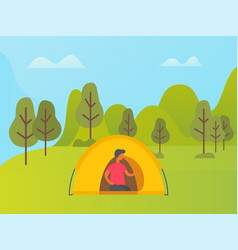 man relaxing in tent on nature forest camping vector image