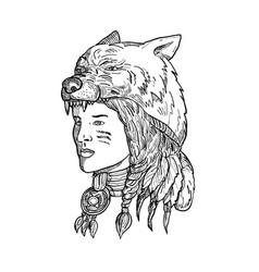 Native american woman wearing wolf head vector