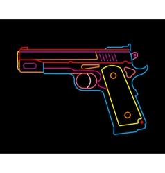 Neon handgun vector