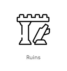 Outline ruins icon isolated black simple line vector