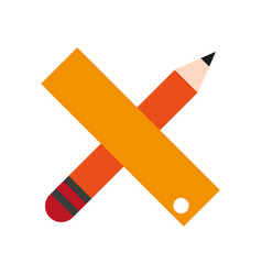 pencil and ruler icon image vector image