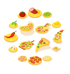 pizza icons set isometric style vector image