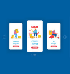 post office service mobile app page onboard screen vector image