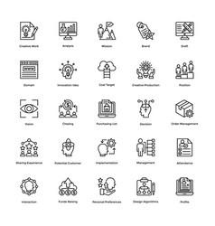 project management line icons set 11 vector image