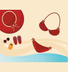 red fashion female accessories vector image