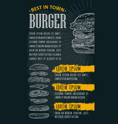Restaurant or cafe menu burger with text vintage vector