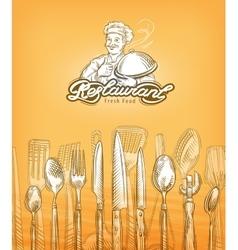 Restaurant or cooking cutlery sketch vector