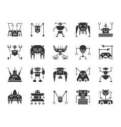 Robot black silhouette icons set vector