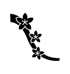 Sakura black glyph icon cherry blossom on tree vector
