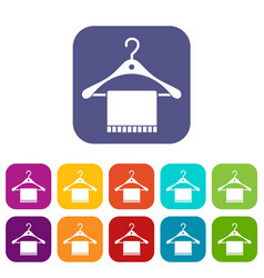 Scarf on coat hanger icons set vector