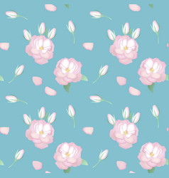 seamless pattern with realistic roses in vintage vector image