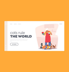 Senior woman taking care of kittens landing page vector
