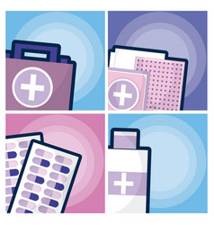 set of medicine and drugs vector image