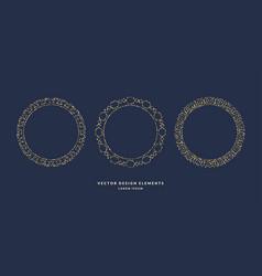 Set of modern geometric circular frames for text vector