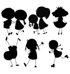 set of silhouette people character vector image