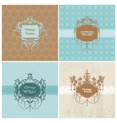 Set retro cards with photo frame vector