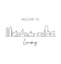 single continuous line drawing lansing city vector image