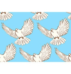 Sketch dove of peace in vintage style vector image