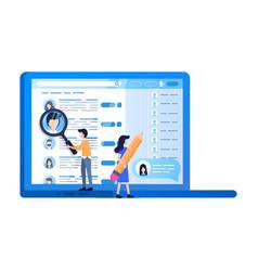 social media profile laptop screen online search vector image